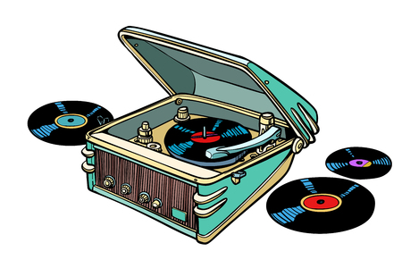 retro vinyl player isolated on white background