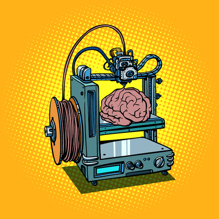 brain biotechnology medicine printing human organs 3D printer Illustration