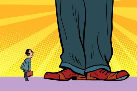 little man and giant boss Ilustração
