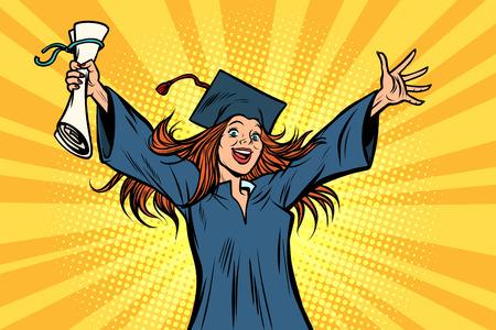 happy graduate girl student of the College or University Çizim