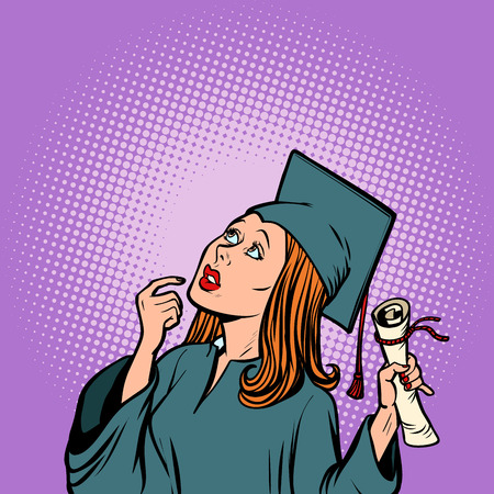 girl graduate thought, the student of College and University Stock Vector - 94897567