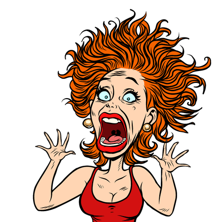 funny scared woman Vector illustration.