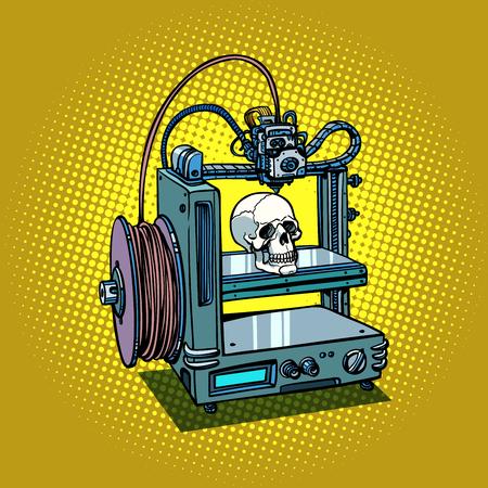 인간의 두개골 3D 프린터 제조 일러스트