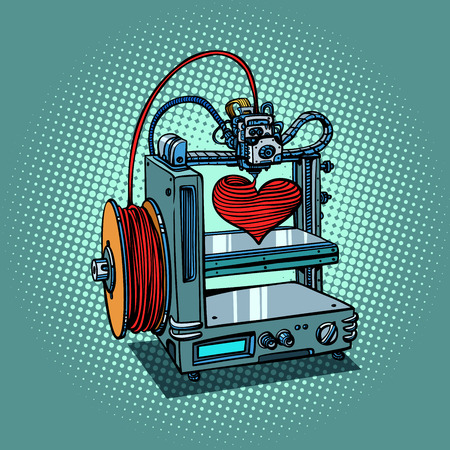 bioprinter prints love heart 3D printer manufacturing Illustration