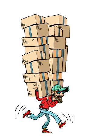 Express fast shipping, lot of cargo. Comic book cartoon pop art illustration retro drawing Stock Photo