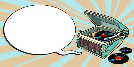 turntable comics, music and party. cartoon pop art illustration retro drawing