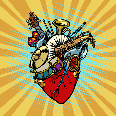 Music in the heart, musical orchestral instruments. Comic cartoon pop art illustration retro vintage kitsch vector