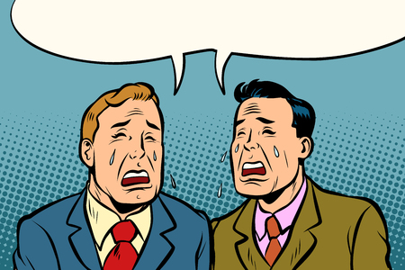 Two men friends crying. Comic cartoon pop art illustration retro vintage kitsch vector Illustration