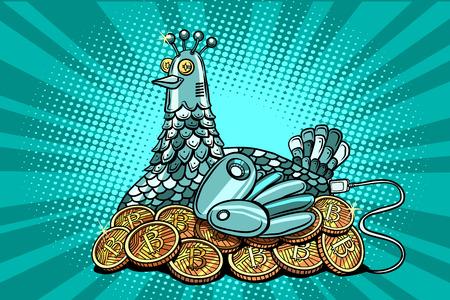The hen incubates electronic money bitcoin Stock Photo