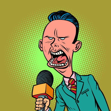 Angry skeptical reporter correspondent journalist male. television and radio, Internet broadcasting. Comic book cartoon pop art retro vector illustration drawing