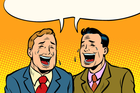 The two friends laugh. Comic book cartoon pop art retro vector illustration drawing