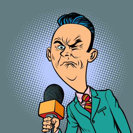 wrinkled nasty bad reporter correspondent journalist male. television and radio, Internet broadcasting. Comic book cartoon pop art retro vector illustration drawing  イラスト・ベクター素材