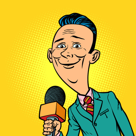 Vriendelijke glimlachende verslaggever correspondent journalist man. televisie en radio, internetuitzending. Stripboek cartoon popart retro vector illustratie tekening