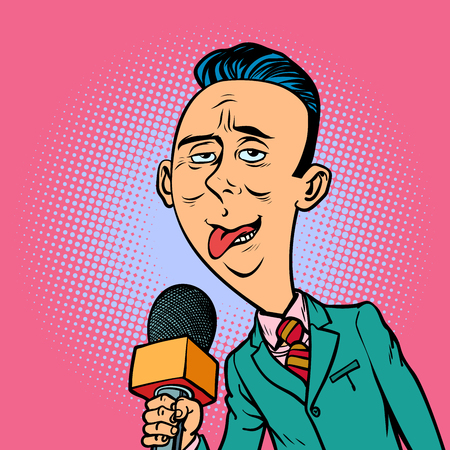 ridiculous funny weird reporter correspondent journalist male. television and radio, Internet broadcasting. Comic book cartoon pop art retro vector illustration drawing