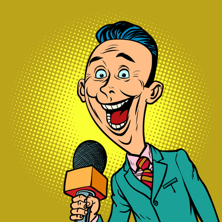enthusiastic joyful reporter correspondent journalist male. television and radio, Internet broadcasting. Comic book cartoon pop art retro vector illustration drawing