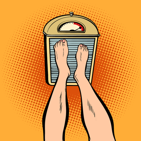 Feet on the scales. diet and weight. Comic book cartoon pop art retro illustration Illustration