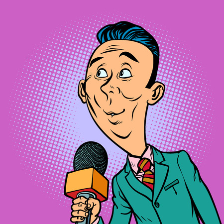 attentive interested curious reporter correspondent journalist male. television and radio, Internet broadcasting. Comic book cartoon pop art retro vector illustration drawing Stock Photo