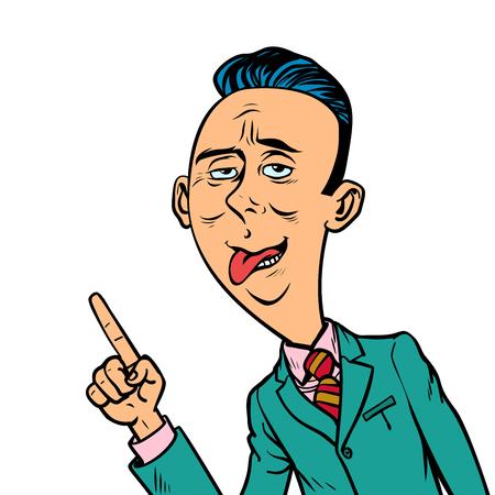 ridicolo divertente uomo d'affari strano punta il gesto del dito