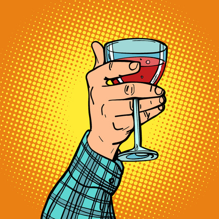 hand with a glass of red wine Stock Illustratie