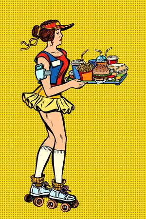retro fast food waitress on roller skates  イラスト・ベクター素材