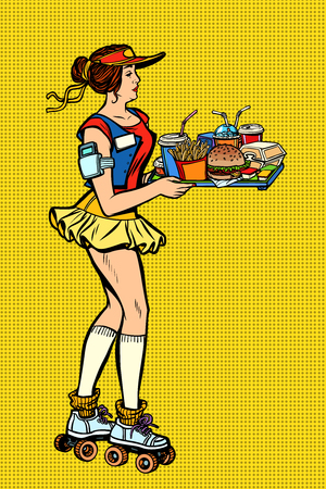 retro fast food waitress on roller skates  イラスト・ベクター素材