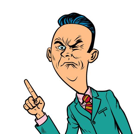 Il cattivo uomo d'affari cattivo corrugato indica il gesto del dito Vettoriali