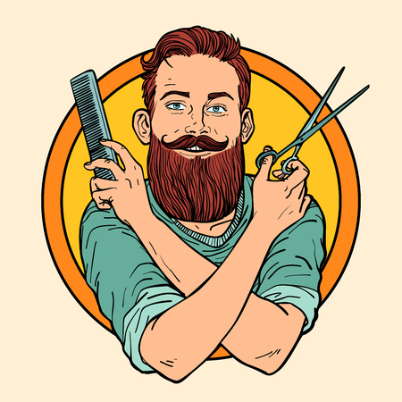 Hipster Barber, scissors comb, barbershop