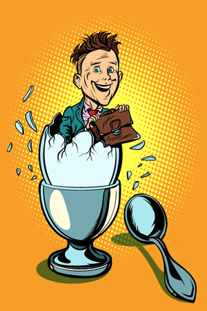 Business school concept. businessman hatched from the egg like a chick. Comic book cartoon pop art retro vector illustration