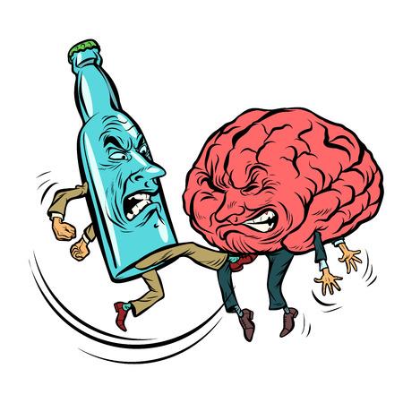 El alcoholismo destruye el cerebro, borracho. pelea botella de vodka. Vector de ilustración retro de cómic de dibujos animados pop art