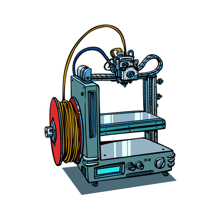 3D printer manufacturing isolated on white background. Comic book cartoon pop art retro illustration vector Ilustração