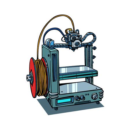 Fabrication d'imprimantes 3D isolée sur fond blanc. Bande dessinée bande dessinée pop art rétro illustration vectorielle