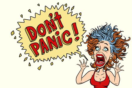 Kobieta panikuje i krzyczy z przerażenia. Komiks kreskówka pop-art ilustracja retro rysunek