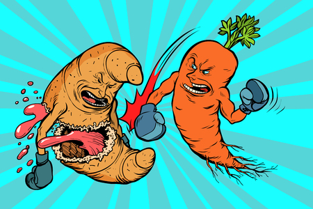 Wortelen verslaan een croissant. vegetarisme versus fast food. Comic book cartoon popart retro vector illustratie