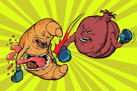 Granaatappelfruit verslaat een croissant, vegetarisme versus fastfood. Comic book cartoon popart retro vector illustratie