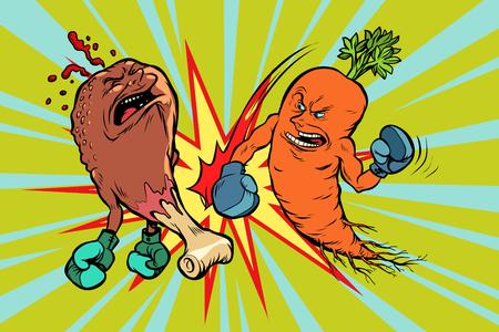 Carrot beats fast food fried chicken leg