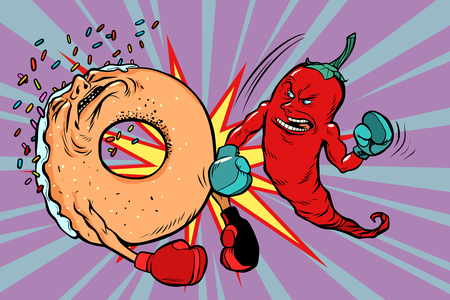 Red pepper beats a donut on plain background