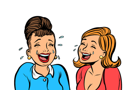 Joyful girlfriends women laugh isolated on white background