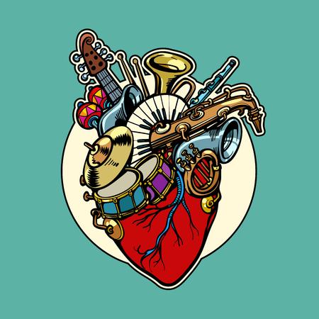 A music education, heart love instruments Illustration