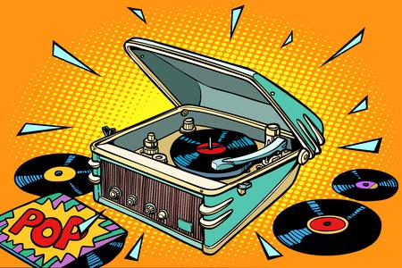 Pop music, vinyl records and gramophone illustration 일러스트