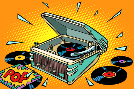 Pop music, vinyl records and gramophone illustration Çizim