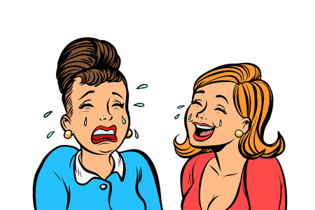 Women. One cries and the other laughs isolate on white background Çizim