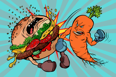 Carrots beats a Burger on blue background. Illustration