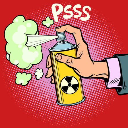Radioactive waste gas in a spray can on red background. Illustration