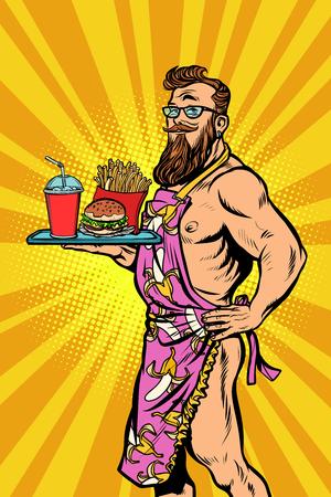 Serveur mâle sexy cuisine rapide Banque d'images - 98050566