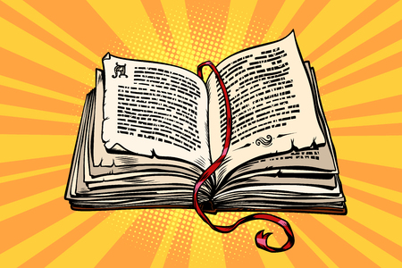 ancient book, religion, fairy tale and literature Stock Illustratie