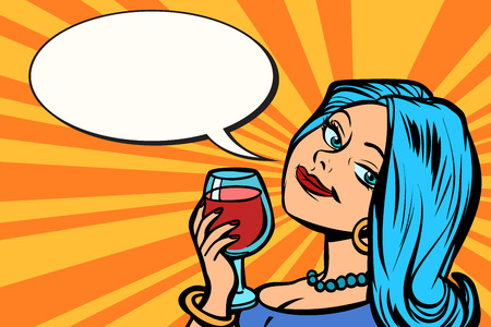 Lovely woman with a glass of wine  イラスト・ベクター素材
