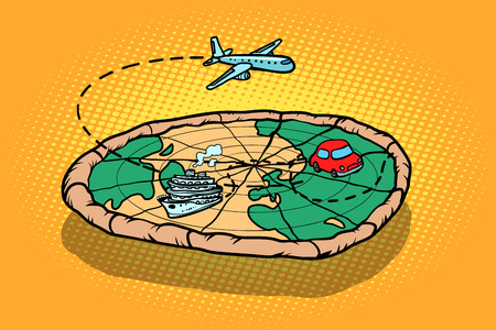 Travel tourism concept, pizza planet earth and transport