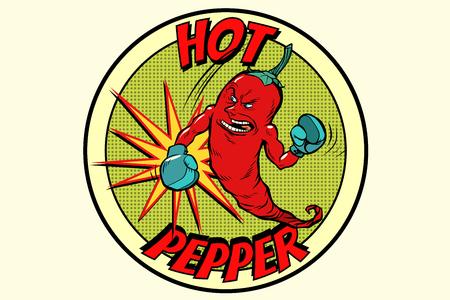 embleem sterke rode peper, kruidige smaak