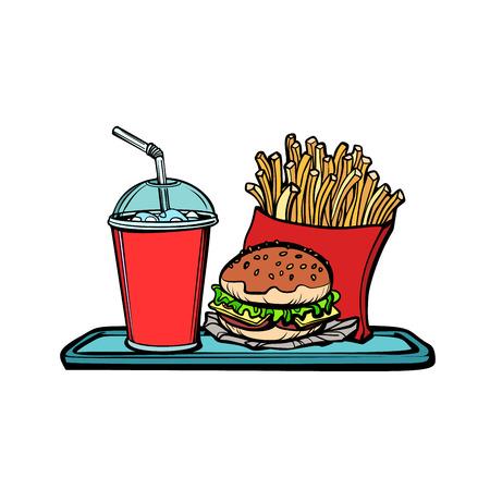 Restaurante de comida rápida de camarero masculino sexy. Dibujos animados cómicos pop art retro vector ilustración kitsch dibujo