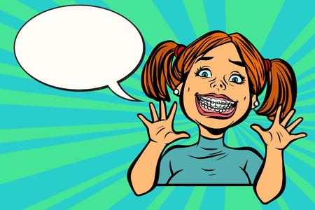 Funny girl with braces. dental medicine and health, dentistry. Comic cartoon pop art retro vector vintage illustration Illustration